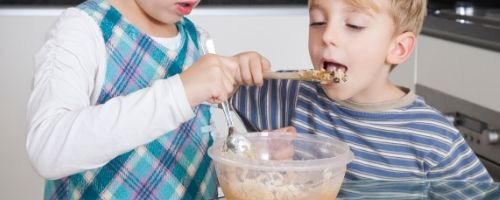 Food Safety Superhero Fighting Food-borne illness and food poisoning prevention - How to prevent poisoning by not eating uncooked cookie dough