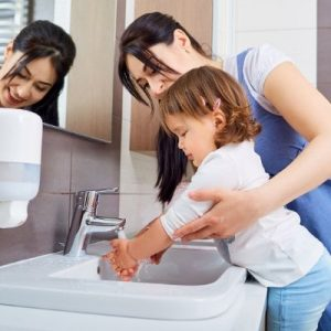 Food Safety Superhero Fighting Food-borne illness and food poisoning prevention -hand hygiene hand washing. How to wash your hands