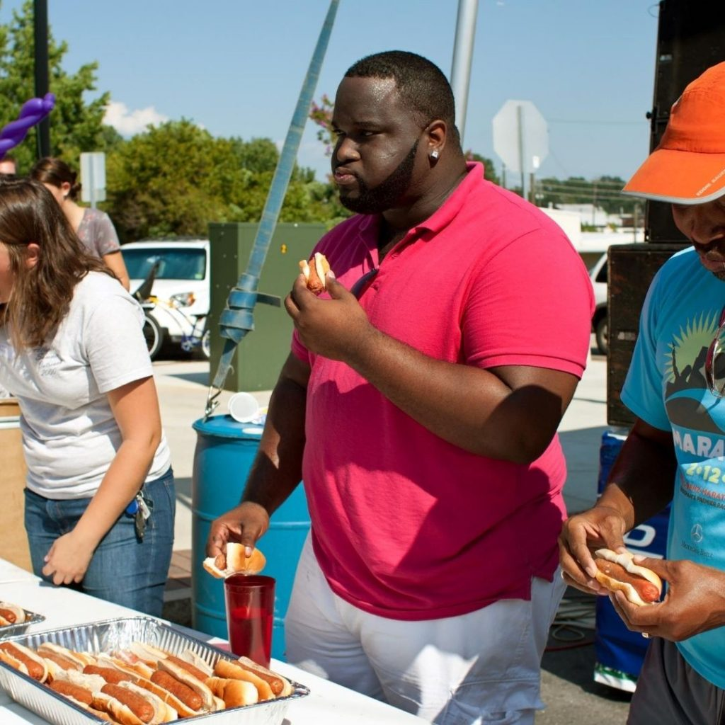 eating hot dogs during hot dog eating contest