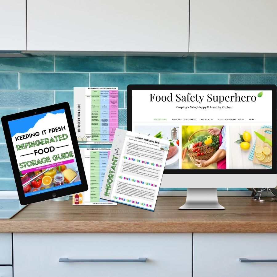 Refrigerated food storage guide free printable. Visit Food Safety Superhero for more information